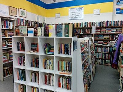 Bookshelves in a thrift store