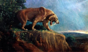 Painting of Smilodon by Charles R. Knight