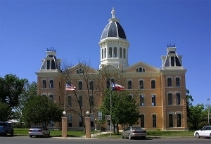 The Presidio County Courthouse in downtown Marfa, Texas.