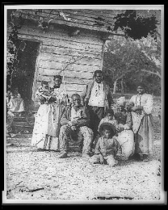 An enslaved family outside Beaufort, South Carolina in 1862.