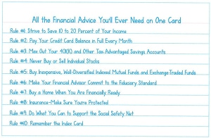 The Index Card of financial advice