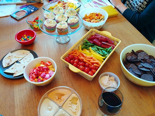 A rainbow of snacks at a coloring book party