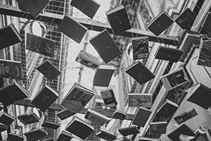 Books falling in midair