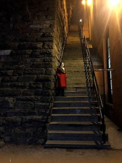 Yours truly on location at the Exorcist Stairs.
