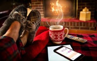 Fireplace with cocoa and slippers