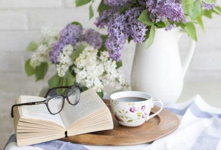 tea book and flowers