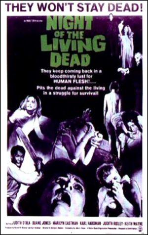 The original 1968 Night of the Living Dead movie poster.